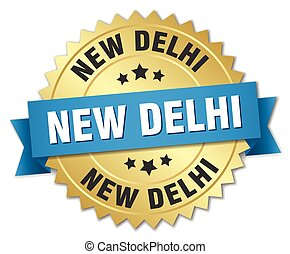New Delhi round golden badge with blue ribbon