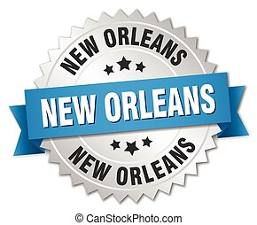 New Orleans round silver badge with blue ribbon