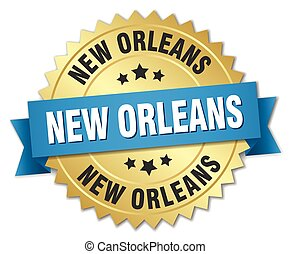 New Orleans round golden badge with blue ribbon