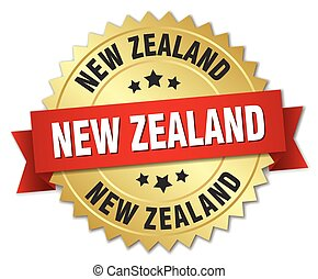New Zealand round golden badge with red ribbon