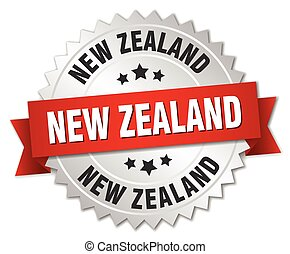 New Zealand round silver badge with red ribbon
