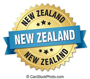 New Zealand round golden badge with blue ribbon