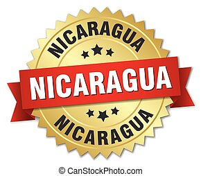 Nicaragua round golden badge with red ribbon
