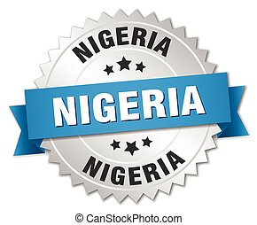 Nigeria round silver badge with blue ribbon