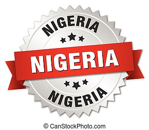 Nigeria round silver badge with red ribbon