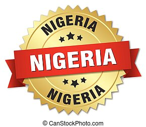 Nigeria round golden badge with red ribbon