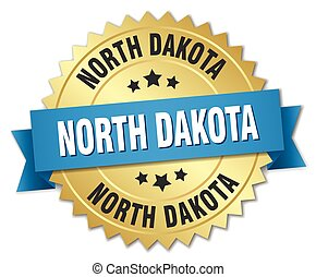 North Dakota round golden badge with blue ribbon