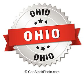 Ohio round silver badge with red ribbon