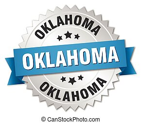 Oklahoma round silver badge with blue ribbon
