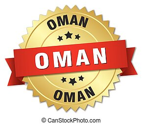 Oman round golden badge with red ribbon