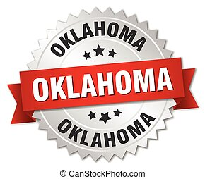 Oklahoma round silver badge with red ribbon
