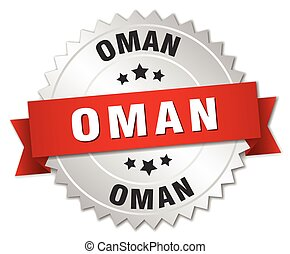 Oman round silver badge with red ribbon