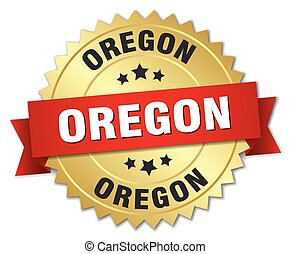 Oregon round golden badge with red ribbon