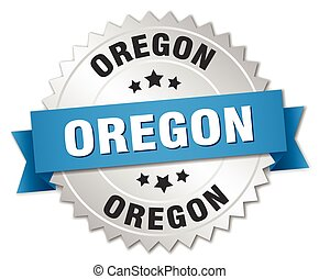 Oregon round silver badge with blue ribbon