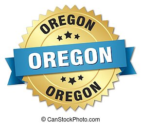 Oregon round golden badge with blue ribbon
