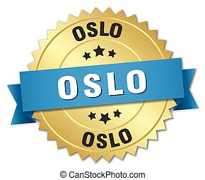Oslo round golden badge with blue ribbon
