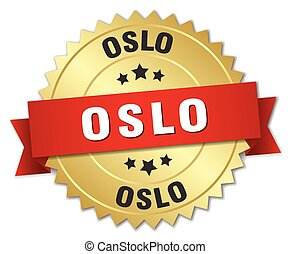 Oslo round golden badge with red ribbon