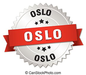 Oslo round silver badge with red ribbon