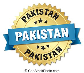 Pakistan round golden badge with blue ribbon