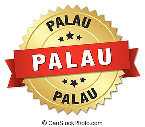Palau round golden badge with red ribbon