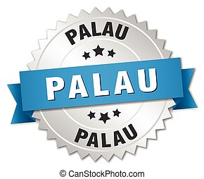 Palau round silver badge with blue ribbon