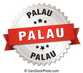 Palau round silver badge with red ribbon