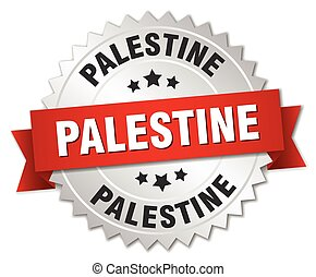 Palestine round silver badge with red ribbon