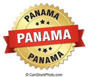 Panama round golden badge with red ribbon