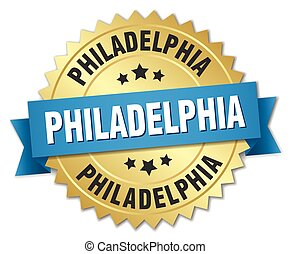 Philadelphia round golden badge with blue ribbon