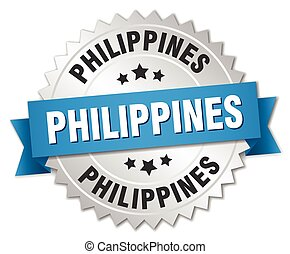 Philippines round silver badge with blue ribbon