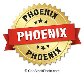 Phoenix round golden badge with red ribbon
