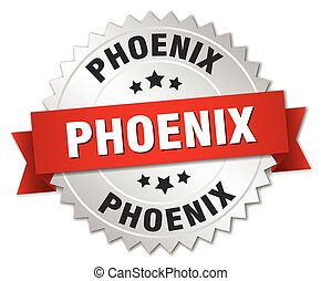 Phoenix round silver badge with red ribbon - Phoenix round...