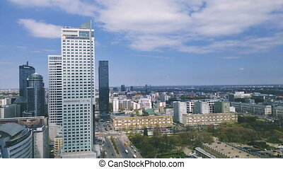 Aerial View On Street In Warsaw - WARSAW, POLAND - 15 April...