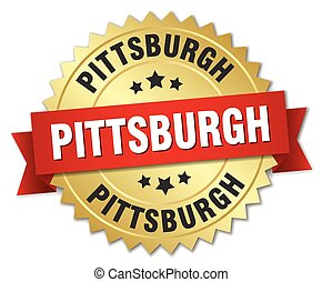Pittsburgh round golden badge with red ribbon