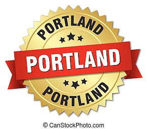 Portland round golden badge with red ribbon