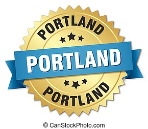 Portland round golden badge with blue ribbon
