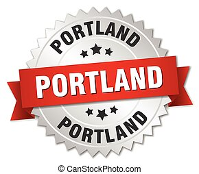 Portland round silver badge with red ribbon