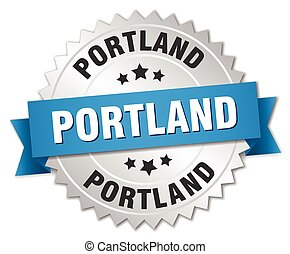 Portland round silver badge with blue ribbon