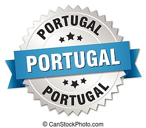 Portugal round silver badge with blue ribbon