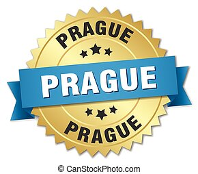 Prague round golden badge with blue ribbon