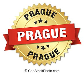 Prague round golden badge with red ribbon