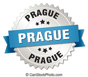 Prague round silver badge with blue ribbon