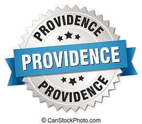 Providence round silver badge with blue ribbon