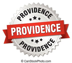 Providence  round silver badge with red ribbon
