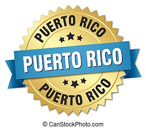Puerto Rico round golden badge with blue ribbon