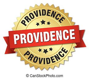 Providence round golden badge with red ribbon