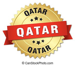 Qatar round golden badge with red ribbon