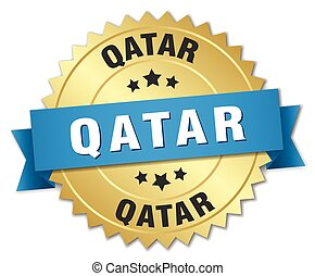 Qatar round golden badge with blue ribbon