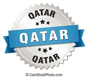 Qatar round silver badge with blue ribbon