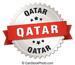 Qatar round silver badge with red ribbon